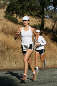 Starting the Mount Diablo 10K, with the woman behind me pushing the pace.
