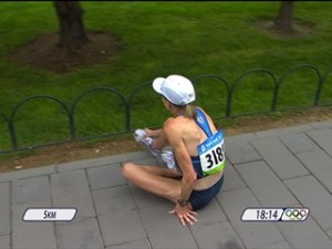 The infamous shot of Deena Kastor suffering a broken foot at mile 3. (Seeing that, and hearing of Magdalena's injury, made my own broken foot at the time seem like a mere boo-boo.)