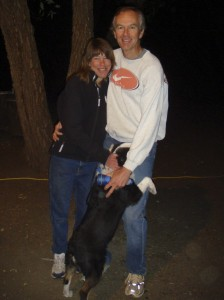 Ann Trason and Carl Andersen with their dog at the start of the 2008 Dick Collins Firetrails 50