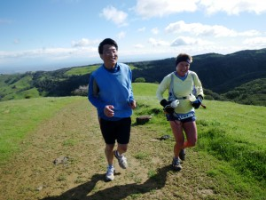 Beth Vitalis with Larry Liu on Morgan Territory Ridge, around mile 9,