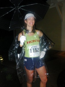 Heading out in the rain to the start of the 2009 Napa Valley Marathon. I ripped off the poncho at the start and progressively shed the arm warmers, gloves, and hat.