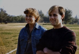 This is me with Morgan in the fall of 1984, standing on the field next to the Thacher track, when I was 15 and he had just turned 18. That was the year I developed chipmunk cheeks and he dyed part of his hair blond.
