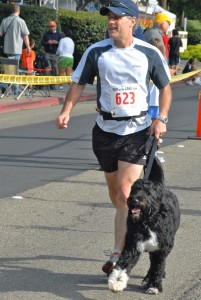 Morgan and Teddy finish the 5K. (This photo is much better than any taken of me running that day!)