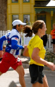 "Sprinting to the finish. This is the only usable photo Morgan got of me; the rest are blurry or of my back. ""I didn't expect you to come so soon or so fast!"" he said afterward."