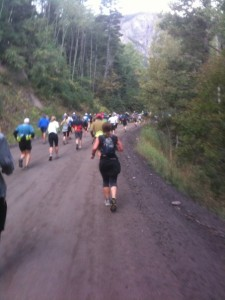 Rick's photo of the first stretch toward the five-mile Camp Bird aid station. The race begins gradually, on smooth and easy terrain, but changes dramatically after five miles.