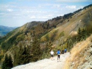 The descent from Tomboy Mines, with Telluride about five miles ahead and to the left in the canyon.