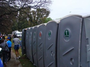 The toilets were labeled for men or women, and the ones for men far outnumbered the ones for women!