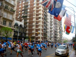 The scene outside the grand Alvear Palace Hotel. The course also ran through gritty industrial parts of town.