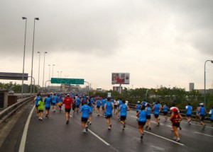 Morgan took this shot of the half-marathoners taking over a stretch of highway.